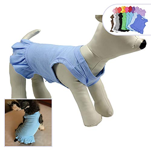 Clothing Maltese Dog - Pet Clothes Small Dog Clothing Blank Color Sport Dress T-Shirts Tee Dresses Tanks Top for Small Size Female Dogs Summer Spring Pet Costumes 100% Cotton (M, Light-Blue)