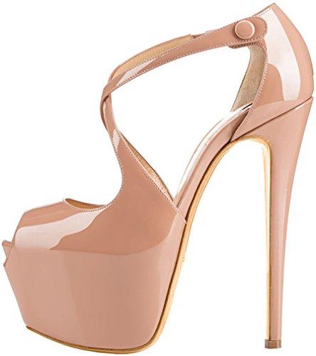 Trusify Mujer 16cm EU tamaño 34-46 Trucrack Tacón de aguja 16CM Sintético Sandalias de vestir Beige