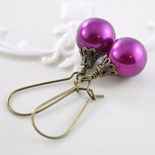 Magenta Christmas Ball Earrings Antiqued Brass Ball Kidney Wire Earrings