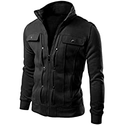Hot Sale! Men Jacket,Canserin 2017 Fashion Mens Classic Slim Designed Lapel Cardigan Coat Sweatshirt Jacket (L, Black)