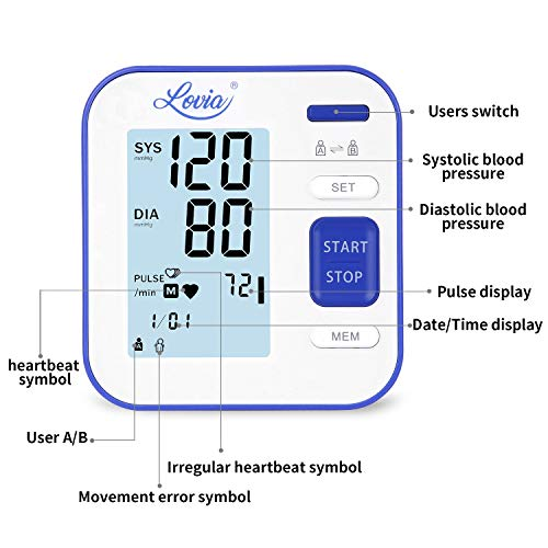 Blood Pressure Monitor for Upper Arm - Accurate Digital Automatic BP Monitor for Home Use with Large Display and Portable Cuff, Monitoring high blood pressure and Irregular Heartbeat, FDA/CE Certified