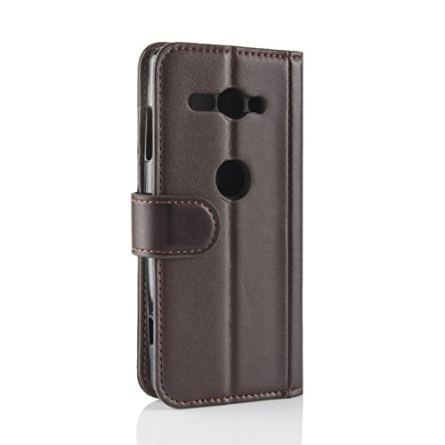 HualuBro Cover Handmade Case Sony Protective Phone Black Wallet ID Xperia Card XZ2 Compact with Compact Genuine Xperia Slots XZ2 for Credit Sony Flip Leather Case Genuine Brown OOw70q