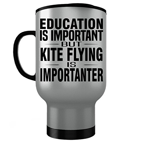 KITE FLYING Stainless Steel Travel Mug - Good for Gifts - Unique Coffee Cup Decal Figure