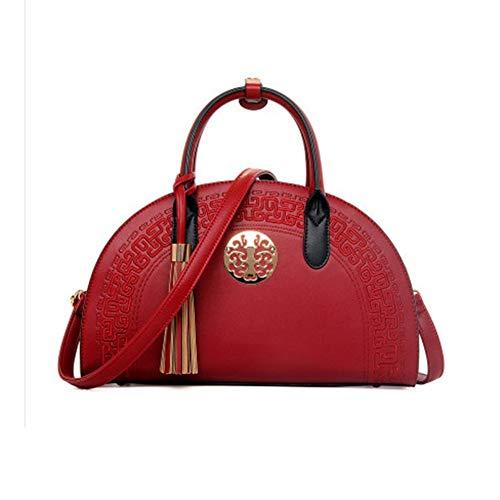 FHGJ Borse Da Donna PU (Poliuretano) Tote Zipper/Tassel Red/Beige / Khaki,Gray Red