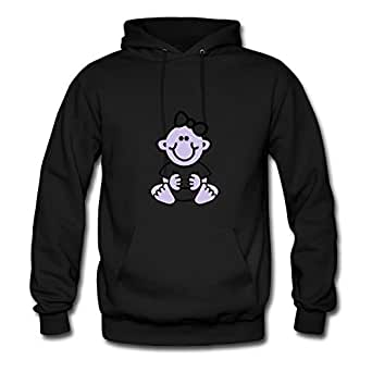 Black O-neck Baby Girl With Bow Women Funny Sweatshirts X-large