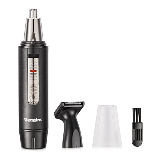 Nose Hair Trimmer for Men Wet Dry Facial Ear Hair Clipper with Vacuum System & Hypoallergenic Dual-edge Blade Battery Operated Waterproof NT11 (Wet Hair Dry Clippers)