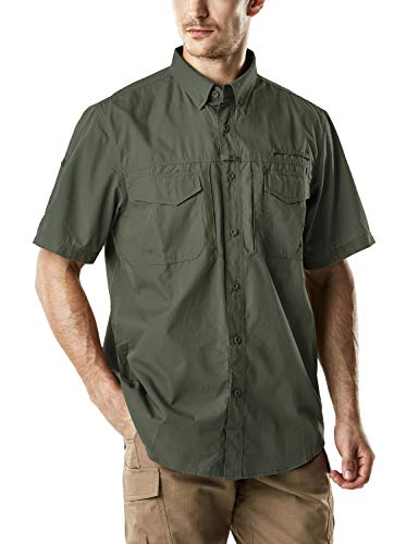 (CQR Men's Performance Fishing Gear UPF 50+ Short-Sleeve Breathable PFG Rip-Stop Shirt, Short Sleeve(tos401) - Olive, Large)