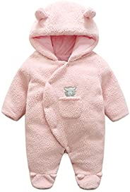 Baby Hooded Rompers Fleece Snowsuits Infant Onesies Jumpsuit Winter Outfits