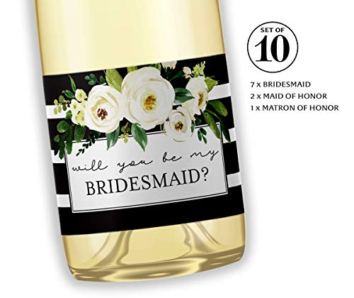 Will You Be My Bridesmaid Mini Champagne Labels ● SET of 10 ● Bridesmaid Proposal, Maid of Honor Ask, Bridal Party Ask, Bridesmaid Wine Stickers, Wedding Favors, 3.5