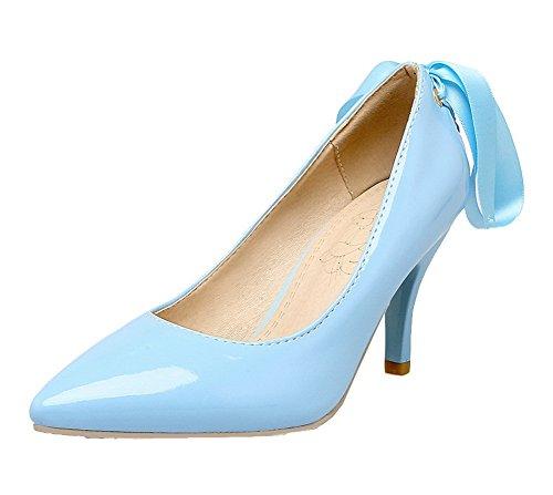 Tirare Punta Tacco VogueZone009 Donna Ballerine di A Alto Maiale Azzurro Pelle Scarpe Puro wqq6z1ntI