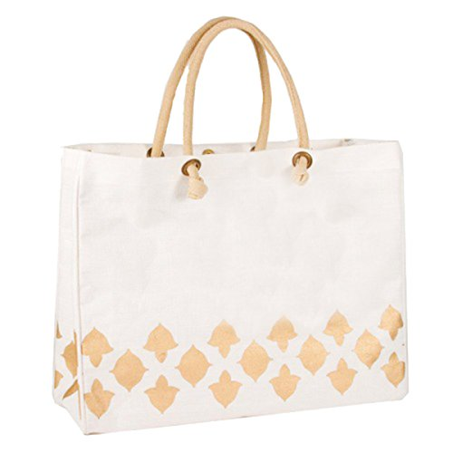 The Royal Standard Nantes Glamour Juco Bag, 19 x 14 x 7.5 inches, White/Gold