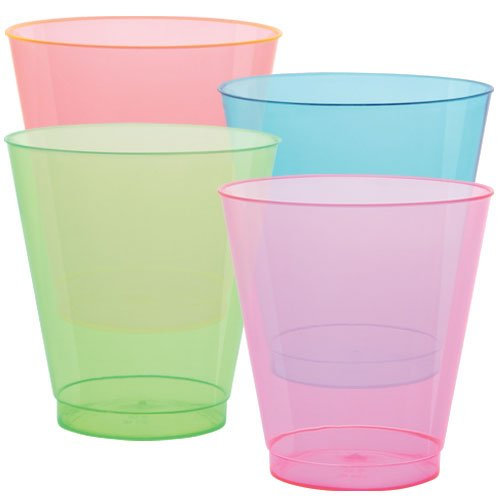 Party Dimensions Neon Mix Tumbler-10 oz   Assorted Tints   Pack of 8 Plastic Tumbler, 9 oz, Pink, Blue, Green, Orange