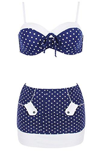 Qinying Sexy 2 Piece Bikini Set Retro Floral Polka Dots Bathing Swimwear - Confederate Flag Swimwear