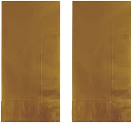 Creative Converting Touch of Color 200 Count 2-Ply Paper Dinner Napkins, Glittering Gold