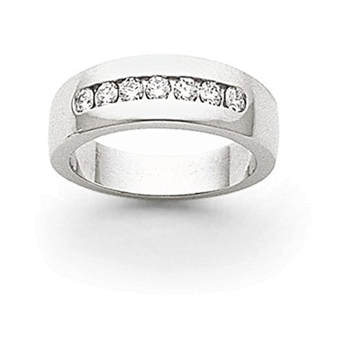 14k White Gold AA Diamond Men's Channel Band Diamond quality AA (I1 clarity, G-I color) (Mens Diamond Aa Channel Band)