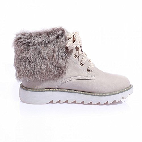 Lace Beige Fur Faux Fashion Flat lucksender Snow Womens ups Boots Casual wO4HEgq