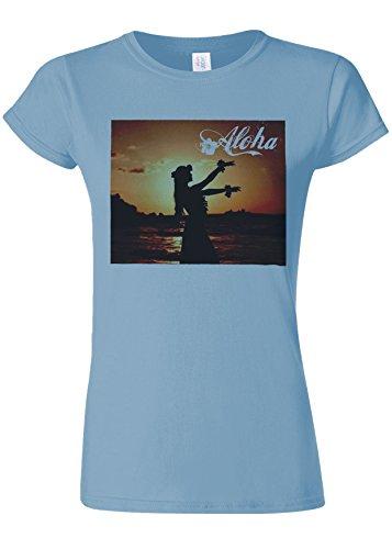 犬に渡って便利さAloha Hawaii Hula Girl Novelty Light Blue Women T Shirt Top-M