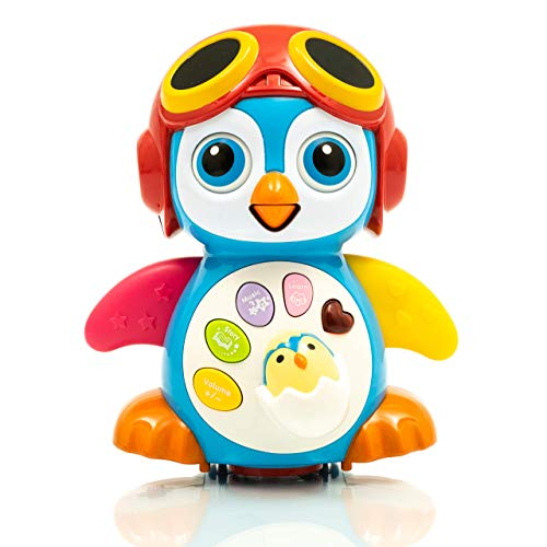 Zenteck Musical Bump 'N Go Penguin Toy BPA-Free, Premium Quality, Educational Toy for Babies & Toddlers  Child-Appropriate Dialogs & Music w/ Adorable Design for Boys & Girls ()