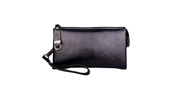 Amazon.com: Men Leather Long Wallet Cartera Hombre Male ...