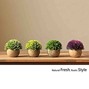 CEWOR 4 Pack Artificial Mini Plants Plastic Mini Plants Topiary Shrubs Fake Plants for Bathroom,House Decorations 3