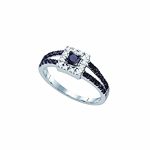 Size 10 - 10K White Gold Halo Prong Set Princess and Round Cut Black and White Diamond Engagement Ring OR Fashion Band - Classic Traditional Solitaire Shape Center Setting - (.58 cttw.)