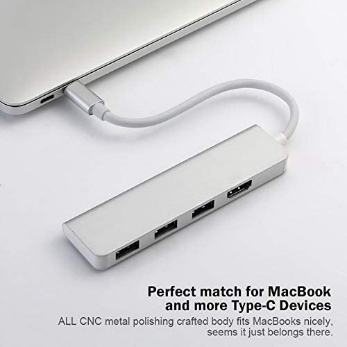 Mouchao USB-C Hub Type-C Adapter To HDMI 3 USB 3.0 Portable Aluminum USB C Dongle Silver