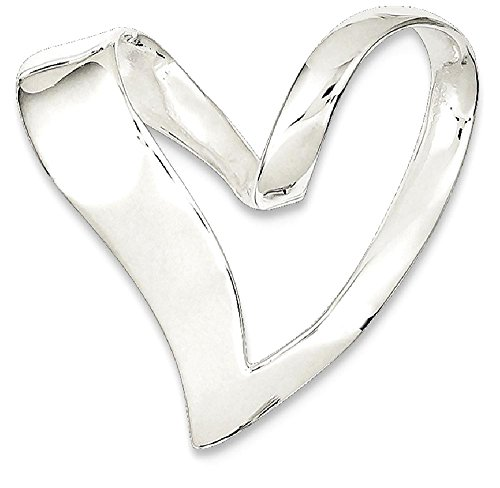 ICE CARATS 925 Sterling Silver Heart Slide Omega Fine Jewelry Gift Valentine Day Set For Women Heart (Silver Slide Pendant)