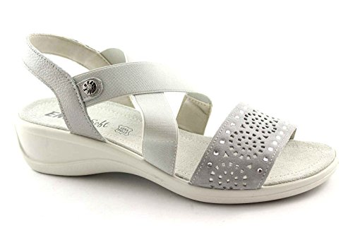 ENVAL 59611 Silber Strass Sandalen Frauen weichen, flexiblen Gummisohle 39