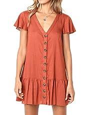Yobecho Women's Summer Dress Sleeveless Solid Color Button Down Sundress Midi Skater Short Dresses