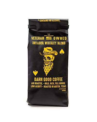 Invader Coffee Whiskey Blend Medium Roast, Air Roasted Less Acidic Coffee – 12 oz. Ground