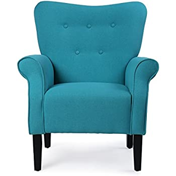 Teal Elegant Linen Upholstered Button Back Accent Armchair Living Room for Relax