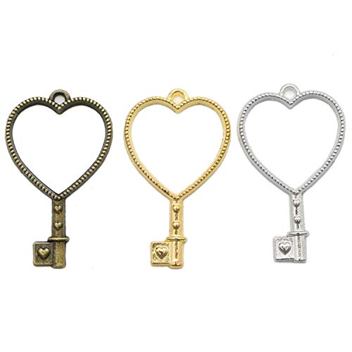 - Monrocco 30Pcs 3Colors Heart Key Alloy Open Back Bezel Pendant Bezels Open Back for Resin Jewelry Making and Crafting - 42 x 25mm