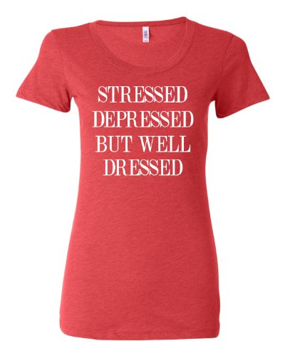 Small Light Red Womens Stressed Depressed But Well Dressed Tri-Blend T-shirt