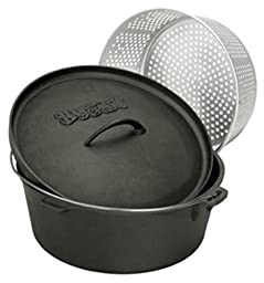 Bayou Classic 7420 20-Quart Cast Iron Dutch Oven with Dutch Oven Lid and Perforated Aluminum Basket
