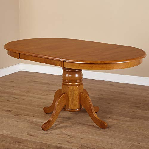 - Simple Living Oak Rubberwood Round/ Oval Farmhouse Dining Table