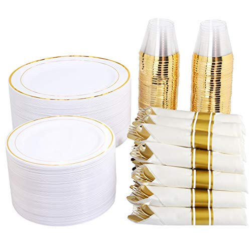 "350 Pieces Gold Plastic Plates with Disposable Silverware and Cups, Include: 50 Dinner Plates 10.25"", 50 Dessert Plates…"