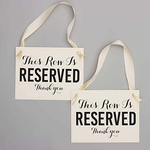 Reserved Row Signs Set of 2 Wedding Chair Seat Banners | This Row Is Reserved, Thank You | Ceremony Aisle Signage Black & -