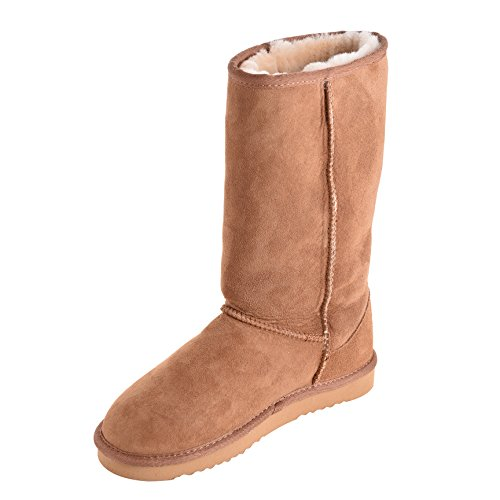 Tall Genuine Reinforced Ladies EVA Boots Sheepskin Heel Chestnut Sole and with Lambland R5EBHqwE