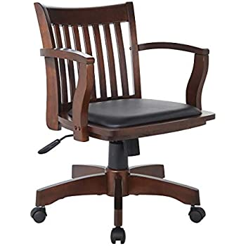 Amazon Com Office Star Deluxe Wood Bankers Desk Chair