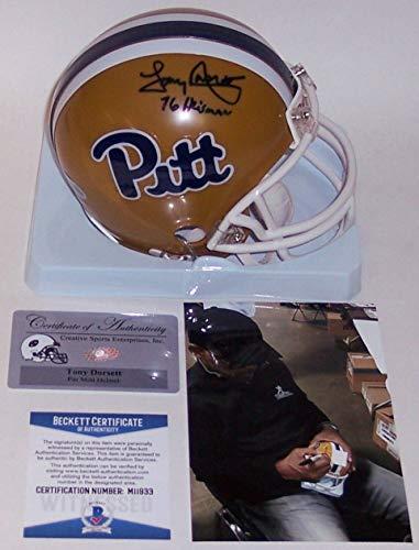 (Tony Dorsett Autographed Hand Signed Pitt Panthers Throwback Mini Helmet - BAS Beckett)