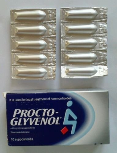 Procto Glyvenol Suppositories for the local treatment of Haemorrhoids Pack of 10. WE SHIP WORLDWIDE by Procto Glyvenol