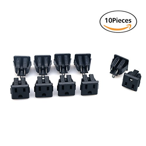 125v Power Supply (GLE2016 10Pcs Black US 3 Pins Power Socket Plug Panel Screw Mount Type Connectors Adapter (Female))