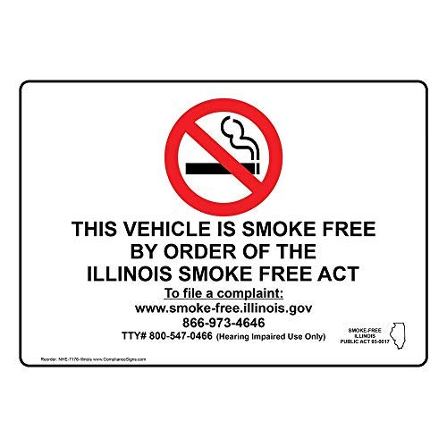 Illinois Bar Pub - with Illinois Smoke Free Info White Metal Tin Signs for Home Bar Garage Store Yard Office Sign