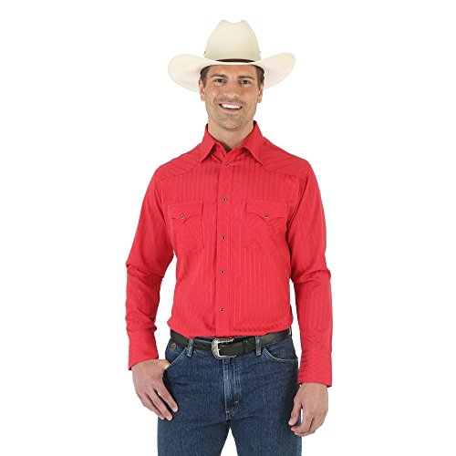 Wrangler Men's Size Silver Edition Western Long Sleeve Woven Shirt, Red, (Editions Long Sleeve Shirt)