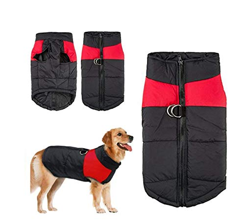 - V-Best Dog Winter Coat Vest Waterproof Jacket Down Vest Warm Lined Breastplate Dog Puppy Clothes Vest Suitable Small Medium Large Dog (XL (Neck:17 inch, Back:15.58inch Chest 19.69inch), red)