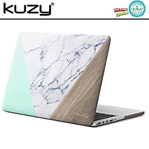"MacBook Pro 13 Retina Case, Kuzy Rubberized Hard Case for MacBook Pro 13.3"" with Retina Display Model: A1502 / A1425 Shell Cover - Marble Pattern Mint-Wood"
