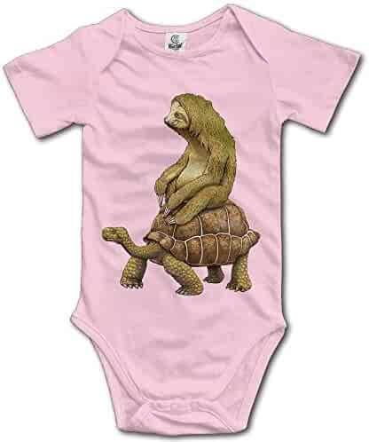 7ab68f80f MB32 Unisex Baby's Climbing Clothes Set Sloth and Turtles Bodysuits Romper  Short Sleeved Light Onesies for