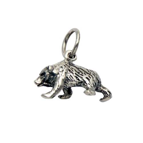 Sterling Silver Chicago Bears Charm - Wild Things Sterling Silver Walking Bear Pendant/Charm