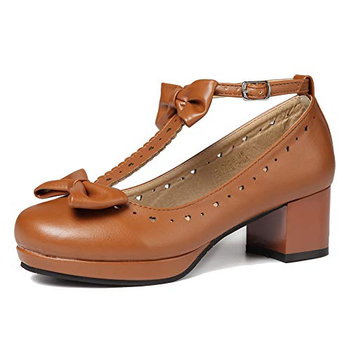 getmorebeauty Women's Lolita Shoes Vintage Sweet T-Straps Bows Mary Janes Shoes (10 B(M) US, Brown)
