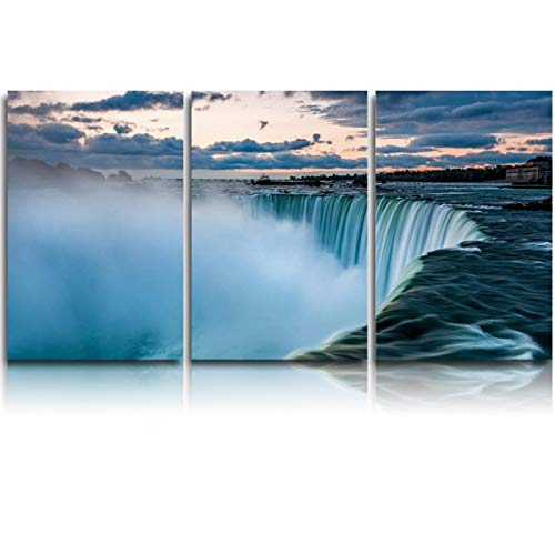 Oil Painting Artwork Print On Wrapped Canvas for Walls Green Niagara Falls Cliff Framed Ready to Hang for Home Decor Living Room Bedroom 16x20in x3]()